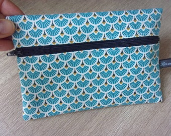 "Goggles/cover ""japane"" case, turquoise blue and Navy, Japanese fabrics and polka dots"