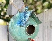 Handmade pottery birdhouse - wheelthrown and hand built