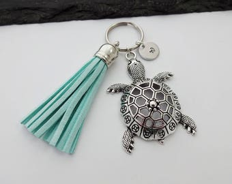 Tassel Keychain, Turtle Keyring, Initial Keyring, Turtle Keychain, Turtle Gift, Tortoise Keyring, Sea Gifts , Ocean, Tassel Keyring
