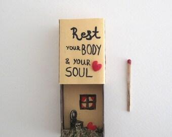 Body and Soul healing ornament, Matchbox message, Christmas Ornament decoration, Matchbox home decorations, matchbox art, Diorama