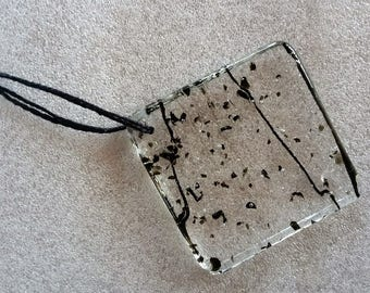 Black and Clear Fused Glass Square Sun Catcher Ornament