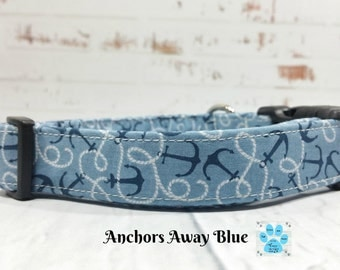 Blue Nautical Dog Collar, Anchors Dog Collar, Cute Boys Dog Collar, Adjustable Dog Collar, Anchors Away Blue Dog Collar, Pet Collar