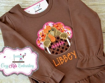 Thanksgiving fall football turkey shirt girl child kid baby toddler infant embroidery applique custom monogram name