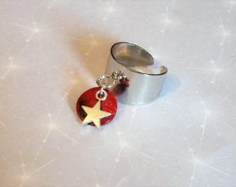 Silver plated Bangle with tassel charm star and Red sequin marc deloche Adjustable ring