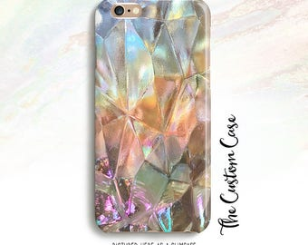 Rainbow Glass Phone Case, Pastel Carnival Glass Geometric, Abstract Geometric Phone Case, Geometric Triangles, Holographic Frosted Glass