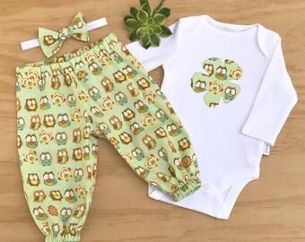 Girls Owl clothing set, Baby girls Woodlands Owl outfit, Baby girls Owl set, Girl baby Owl clothing, Woodlands girl clothing set, Owl outfit
