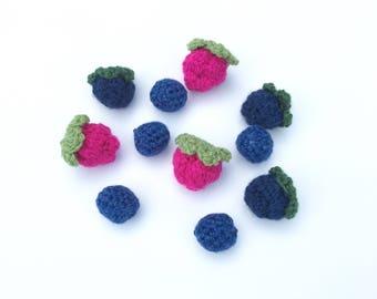 Crochet Pretend Berries | Crochet Raspberries, Blackberries, and Blueberries | Crochet Fake Food Kitchen Toy