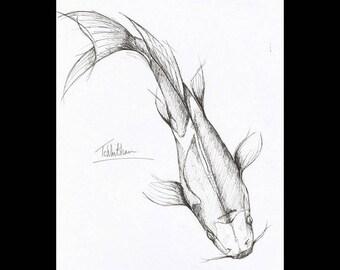 A4 Koi fish art. Ink illustration. Koi fish drawing. Marine art. sea life art.  Wall art. Animal art. Animal ink drawing.  Koi illustration