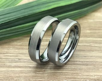 6MM His & Hers Tungsten Rings,Personalized Custom Engrave Tungsten Ring, Comfort Fit, Brushed Finish, Beveled Edge, FREE ENGRAVING