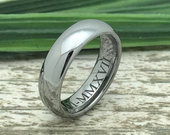 5.5mm Tunsgten Wedding Ring, Personalized Custom Engrave Polish Finish Tungsten Ring, Comfort Fit, Classic Dome FREE ENGRAVING