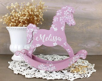 Handmade vintage style gifts and interior by vintagelullabydesign personalized baby gift rocking horse toys baby shoower gift girl newborn girl gift personalized toys unique negle Image collections