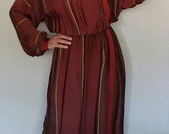 VINTAGE 80's DRESS // Maroon// Large Size// Vestido Granate// Talla L 40
