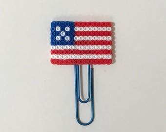 United States of America Flag Planner Clip  | USA | 4th of July | Independence Day | Planner Clips | Bookmark |  Mini perler Beads