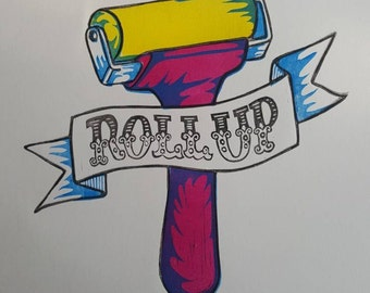 Roll Up! Printing ink roller CMYK four colour lino print. Hand printed. Hand carved. Original art.