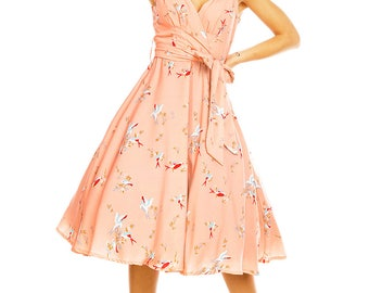 Sarah-P peachy pink swallow bird print vintage 50's retro rockabilly swing dress