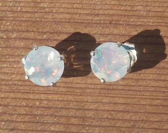 Rare Welo Ethiopian Opal CLEAN with Multi -Fire, 8mm Rounds. Hand Set,  Sterling silver 925 Studs
