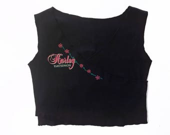 Vintage Harley Davidson Pink Flowers Front Cross Over Crop Top