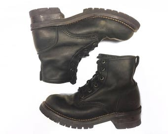 Vintage Sketchers Black Leather Lace Up Combat Ankle Boots