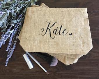 Bridesmaid Gifts | Bridal Party Gifts | Custom Makeup Bags | Monogram Make Up Bags | Burlap Cosmetic Bags | Personalized Makeup Bags