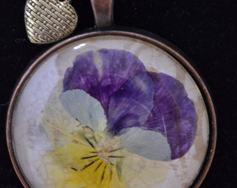 Pressed Flower Pendant, Pansy, Pressed Flower Jewelry, Gardener Gift, Bridesmaid, Mother Gift