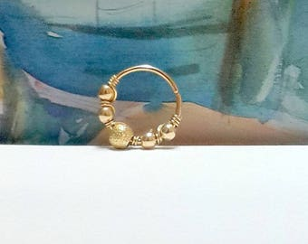 Gold Filled Cartilage Hoop,Nose Ring,Tragus Hoops,Gold Forward Helix Piercing,Daith Piercing,16-22 Gauge,8-12mm Inner Diameter,Nose piercing