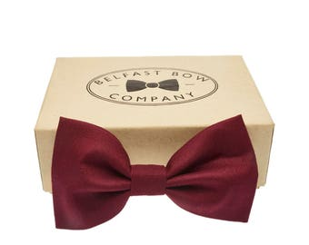 Handmade Bow Tie in Rich Burgundy Maroon - Available in Adult & Junior sizes