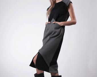Summer dress Gray and black dress with pockets Midi gray dress Party dress gray and black Casual dress Slit dress Geometric modern dress