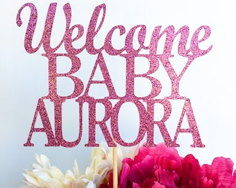 Welcome baby cake topper | Baby shower cake topper | Glitter cake topper | Gender reveal cake topper | Baby shower decor | Gender reveal