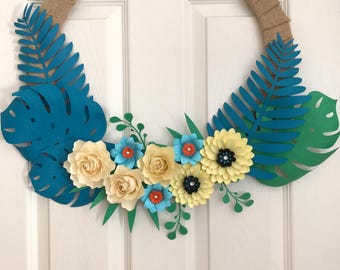 Paper Door Wreaths, Sunflower Wreath, Rose Wreath, Entryway Decor Wreath, Entrance Door Decoration, Fall Wreath, Spring Wreath