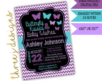 Butterfly Baby Shower Invitation - Purple and Teal - Digital File - J001