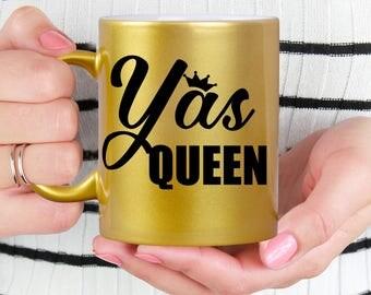 Yas Queen Gold Coffee Mug - Microwave Dishwasher Safe Gold Coffee Mug