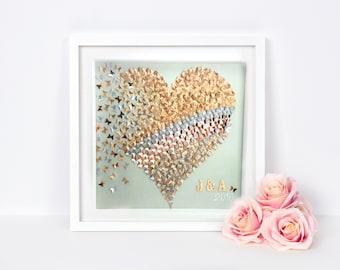 Gold heart butterflies | paper butterfly |3D butterflies heart wall art| 3D paper art | Gold Silver butterflies Heart Frame |paper butterfly