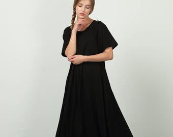 Women's oversize maxi Dress Loose linen cotton dress plus size clothing caftan linen kaftan large size dress Custom_made clothing B22