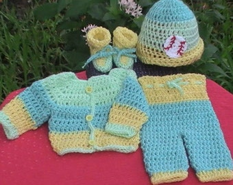 Premie Outfit.Coming home,Go Home Premie Outfit.Crochet preemie boy outfit.Preemie boy photography prop.Yellow,Baseball.Preemie Boy Clothes.
