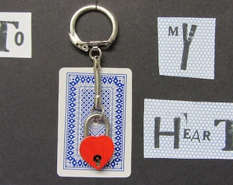 Two part Couples keyring. Key and Lock Keyring.
