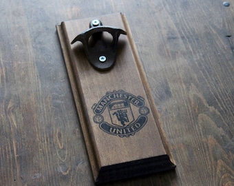 Manchester United Gift  Wall Mount Rustic Bottle Opener - Your Team! Valentines Gift