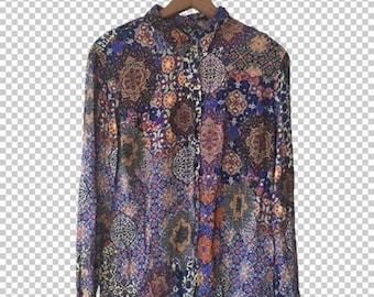 Psychedelic Kaleidoscope Blouse by Peckott // Vintage Women's Carpet Print Purple Paisley Shirt // Women's Large