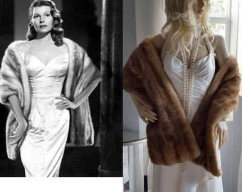 Luxury Vintage Mink Stole - Fur Stole - Mink Wrap - Cape - Shawl - Wedding - Bridal Fur Shrug - Honey Brown Autumn - Old Hollywood Glam