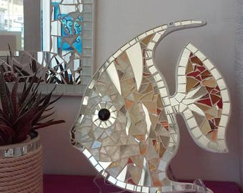 Angelfish--Angelfish stained glass mosaic tile