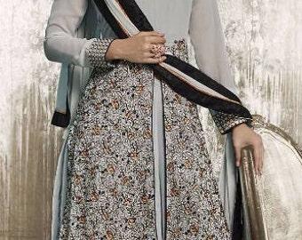 Indian Designer Gray Colored Faux Georgette Salwar Suit Anarkali heavy embroidered Suit Dress