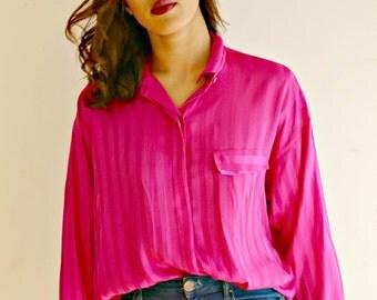 Pink 90's Vintage Shirt 90's Clothing Vintage Pink Shirt Pink Blouses Retro Shirt Women's Vintage Shirt
