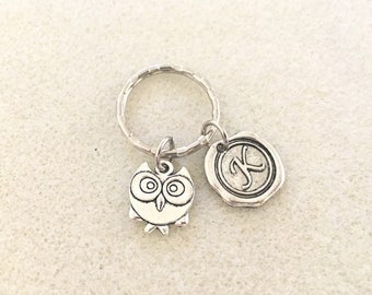 SALE!!! Initial owl keychain with letter owl gifts owl jewelry with letter personalized owl keychain initial gift personalized gift