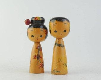 Vintage kokeshi doll, set of 2
