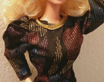 Restored & Restyled Superstar Era Blond Barbie Doll,  Spectacular Fashions pieces Dress vintage 1985