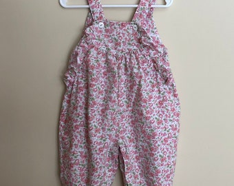 Vintage Floral Girls Overalls 6-9m