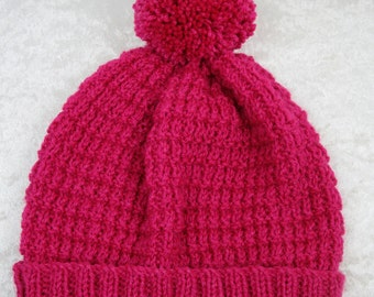 Pink Beanie Hat with Fluffy Pompom