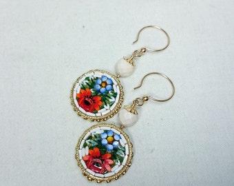 White Micro Mosaic Earrings, Jasper, 14K Gold Filled, Grand Tour, Italian Souvenir Jewelry