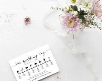 Wedding Day Timeline Printable *Custom* Listing - DIY - Digital Download - For Wedding Decoration, Welcome Bags 5x7 - Other colors available
