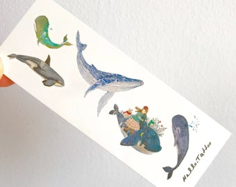 Whales - Temporary Tattoos // Cool // Cute // Hipster // Summer // Party