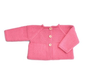 Baby girl jacket. Pink Baby jacket. Knit baby cardigan. Baby girl cardigan. Baby matinee coat. Baby girl clothes. Cute baby clothes. Gift.